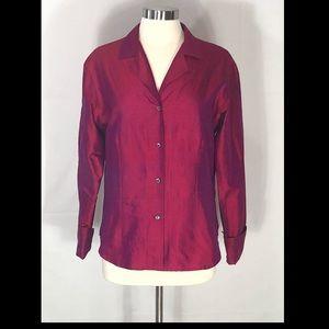 Burberry 100% Silk Button Front Long sleeves/Cuffs